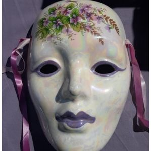Collectible Small Purple Japanese Face Mask Art